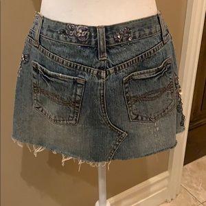 Crystal studded denim skirt